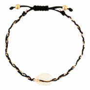 Anklets / Ankle bracelets Cowrie braided Black