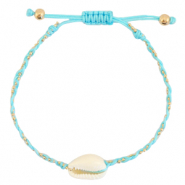 Anklets / Ankle bracelets Cowrie braided Light Turquoise Blue