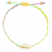 Anklets / Ankle bracelets Cowrie braided Neon Rainbow