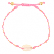Anklets / Ankle bracelets Cowrie braided Neon Pink