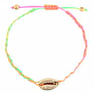 Ready-made Bracelets Cowrie braided Neon Rainbow-Gold
