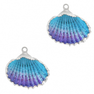 Shell pendant specials Cockles Silver-Blue Purple Ombre