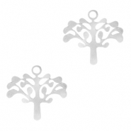 Stainless steel charms Tree of Life Silver