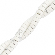 Natural stone beads disc 4mm Marble White