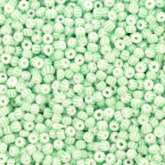 Preciosa glass seed beads 11/0-03851 White-Mint Green