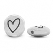 DQ European metal beads 7mm Heart Antique Silver (nickel free)
