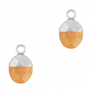 Natural stone charms Rusty Orange-Silver