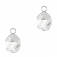 Natural stone charms Marble White-Silver
