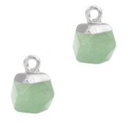 Natural stone charms hexagon Light Green-Silver