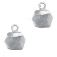 Natural stone charms hexagon Mirage Grey-Silver