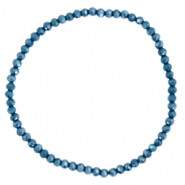 Top faceted bracelets 3x2mm Peacoat Blue-Pearl Shine Coating