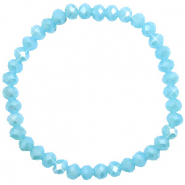 Top faceted bracelets 6x4mm Crystal Blue-Pearl Shine Coating