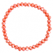 Top faceted bracelets 6x4mm Fiery Red-Pearl Shine Coating