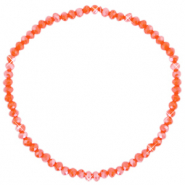 Top faceted bracelets 3x2mm Spicy Orange-Pearl Shine Coating