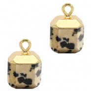 Natural stone charms square Greige-Gold