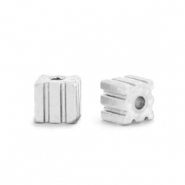 Hematite beads cube 3mm Silver
