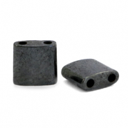 Hematite beads oval square Anthracite Grey