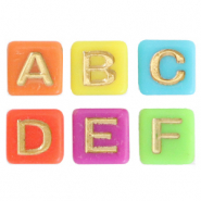 Acrylic letter beads mix Multicolour-Gold