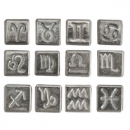 Acrylic letter beads zodiac sign mix Metal look-Antique Silver