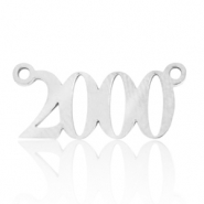 Stainless steel charms/connector year 2000 Silver