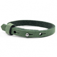 Cuoio bracelets leather 8mm for 12mm cabochon Forest Green