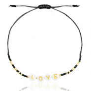 "Ready-made Bracelets Miyuki ""LOVE"" Black-Gold"