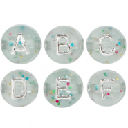 Acrylic letter beads mix crackled Transparent-Silver
