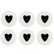 Acrylic letter beads glow-in-the-dark hearts Off White-Black