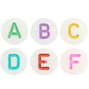 Acrylic letter beads mix glow-in-the-dark Off White-Multicolour