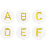 Acrylic letter beads alphabet White-Gold