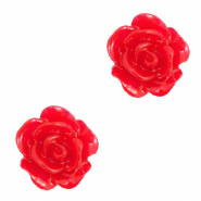 Rose beads 10mm Lollipop Red