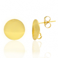 Brass TQ metal earpin round 12mm with loop Gold