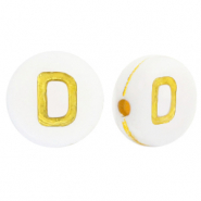 Acrylic letter beads D White-Gold