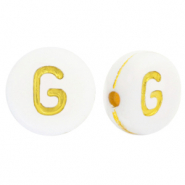 Acrylic letter beads G White-Gold