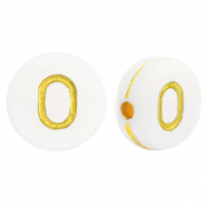 Acrylic letter beads O White-Gold