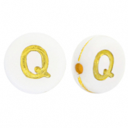 Acrylic letter beads Q White-Gold