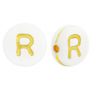 Acrylic letter beads R White-Gold