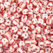 Glass seed beads 8/0 (3mm) stripes White-Red
