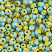 Glass seed beads 8/0 (3mm) stripes Light Blue-Yellow