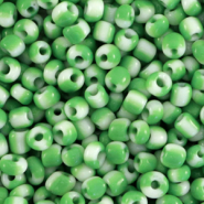 Glass seed beads 8/0 (3mm) stripes White-Green