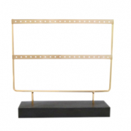 Jewellery display two rows for earrings with wooden standard Dark Brown-Gold