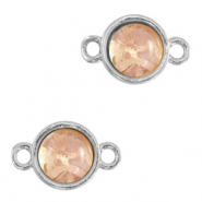 Natural stone charms connector 8mm Blossom Pink-Silver