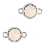 Natural stone charms connector 8mm White Rose-Silver