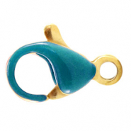 Stainless steel findings lobster clasp 10mm Pretty Peacock Blue-Gold