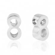 Stainless steel beads number 8 Silver