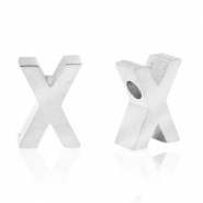 Stainless steel beads letter X Silver