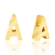 Stainless steel beads letter A Gold