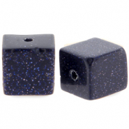 8 mm natural stone beads square Black-blue