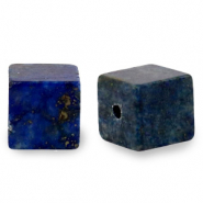 8 mm natural stone beads square Dark Blue