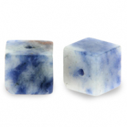 8 mm natural stone beads square Blue White